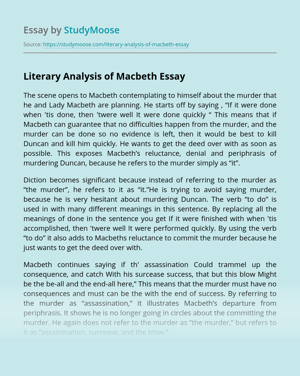 Literary Analysis of Macbeth