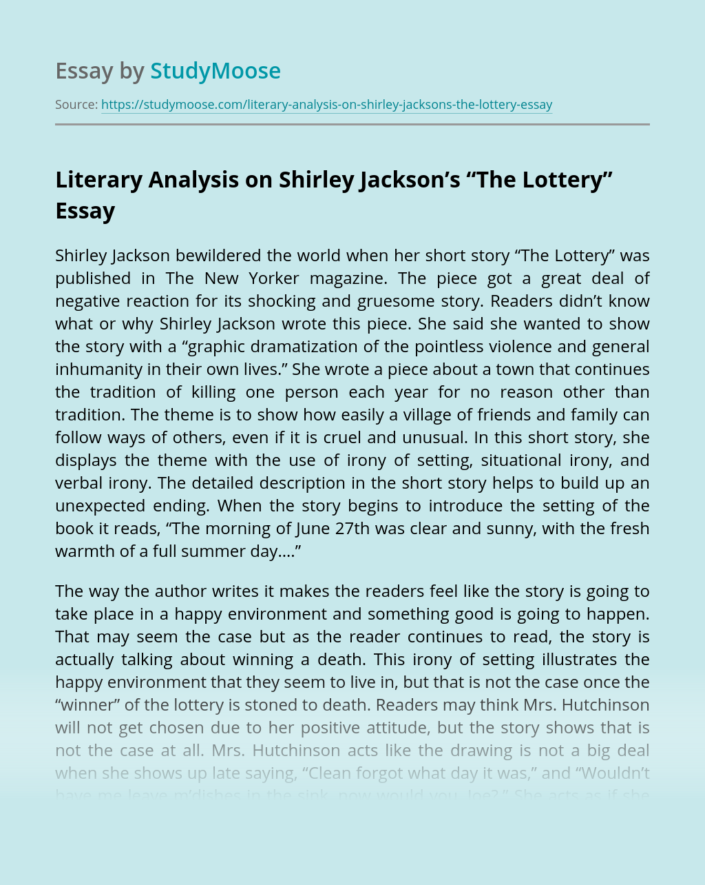"Literary Analysis on Shirley Jackson's ""The Lottery"""