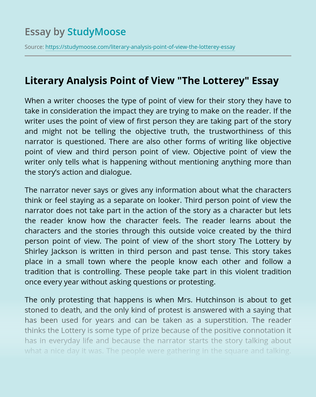 "Literary Analysis Point of View ""The Lotterey"""