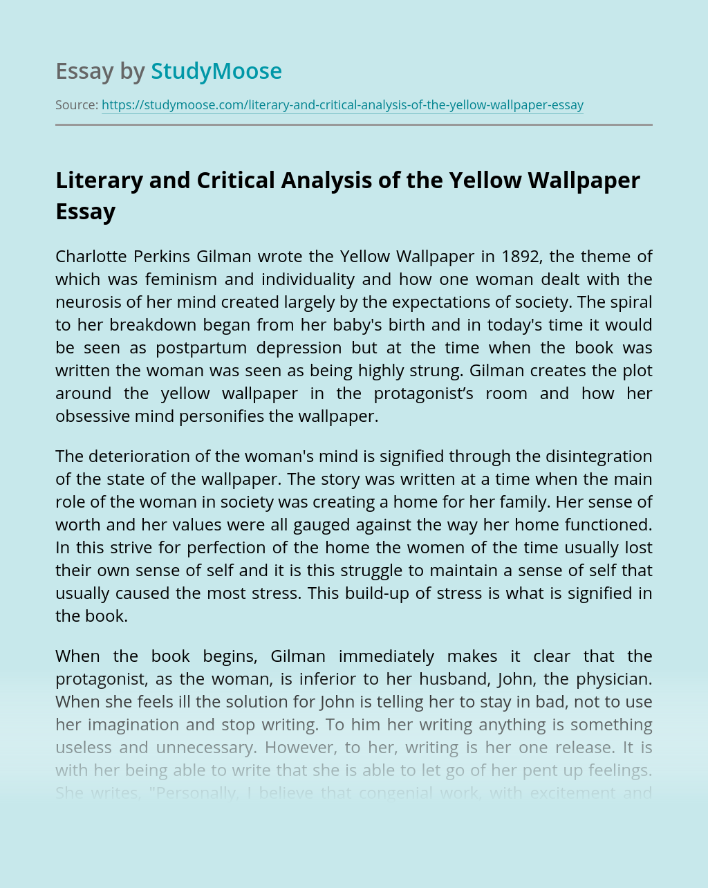 Literary And Critical Analysis Of The Yellow Wallpaper Free Essay Example