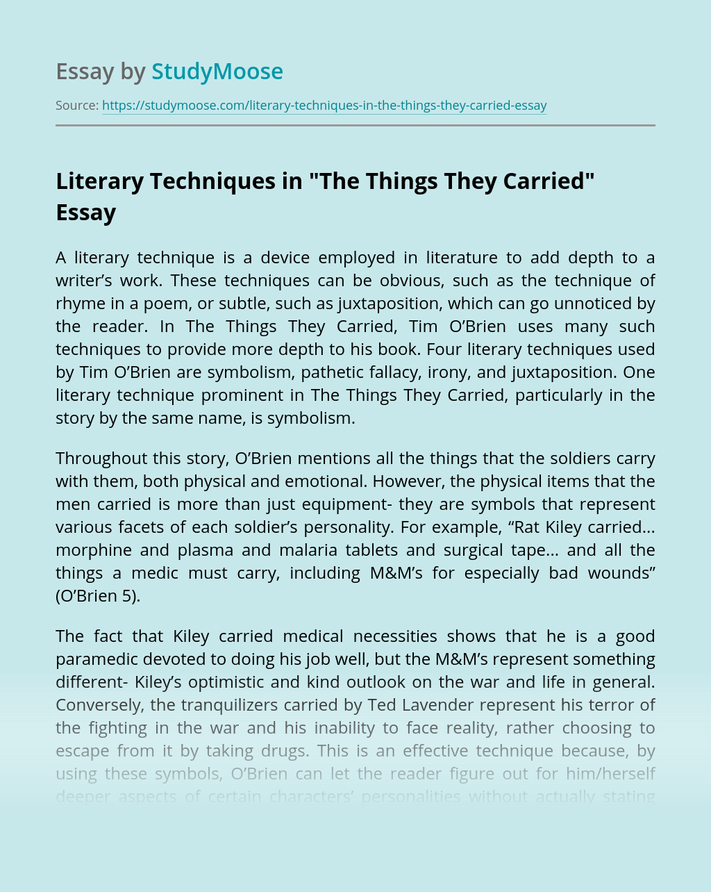 Literary Techniques in