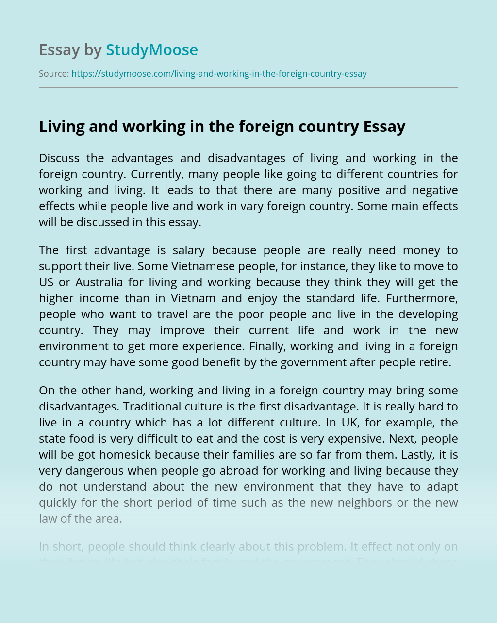 Living and working in the foreign country