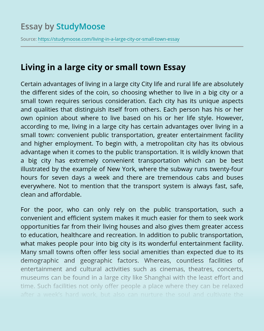 Living in a large city or small town