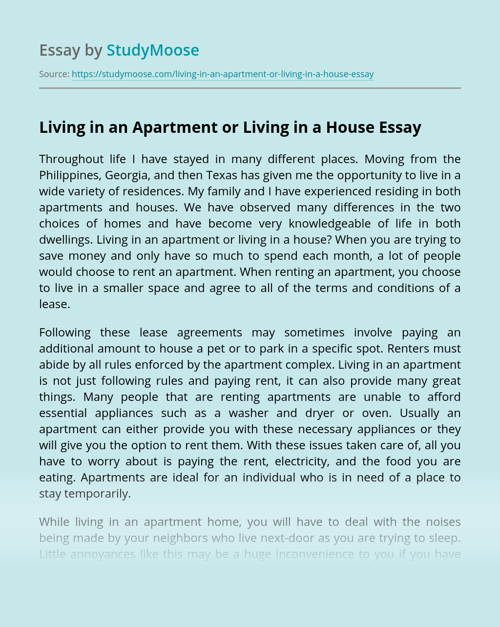 Living in an Apartment or Living in a House