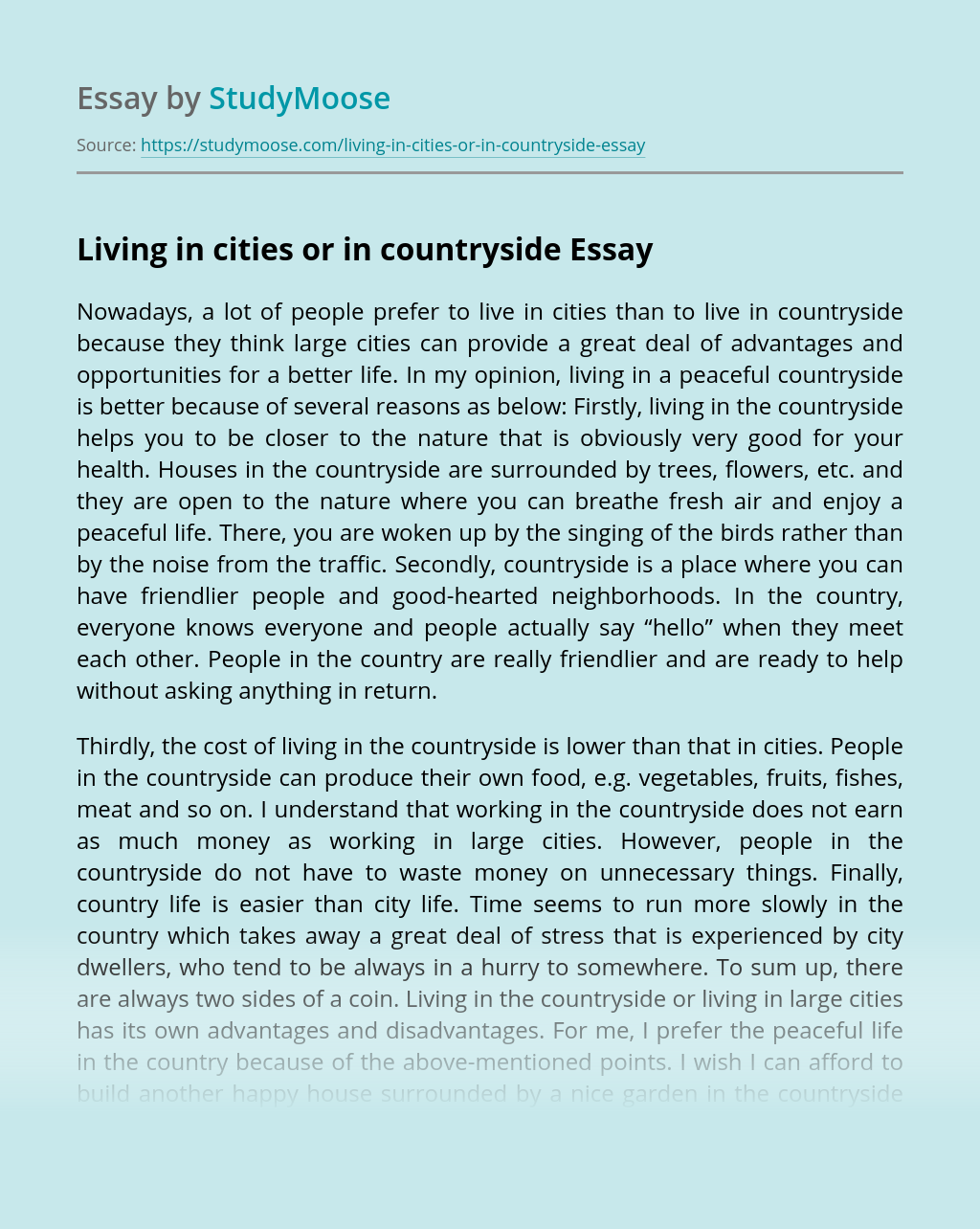Living in cities or in countryside