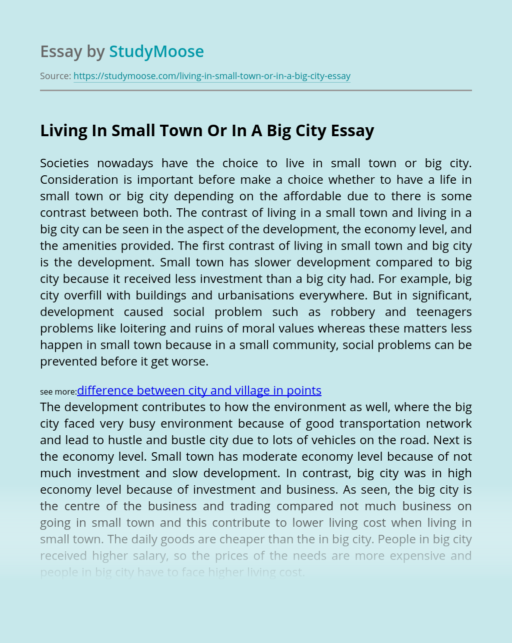 Living In Small Town Or In A Big City