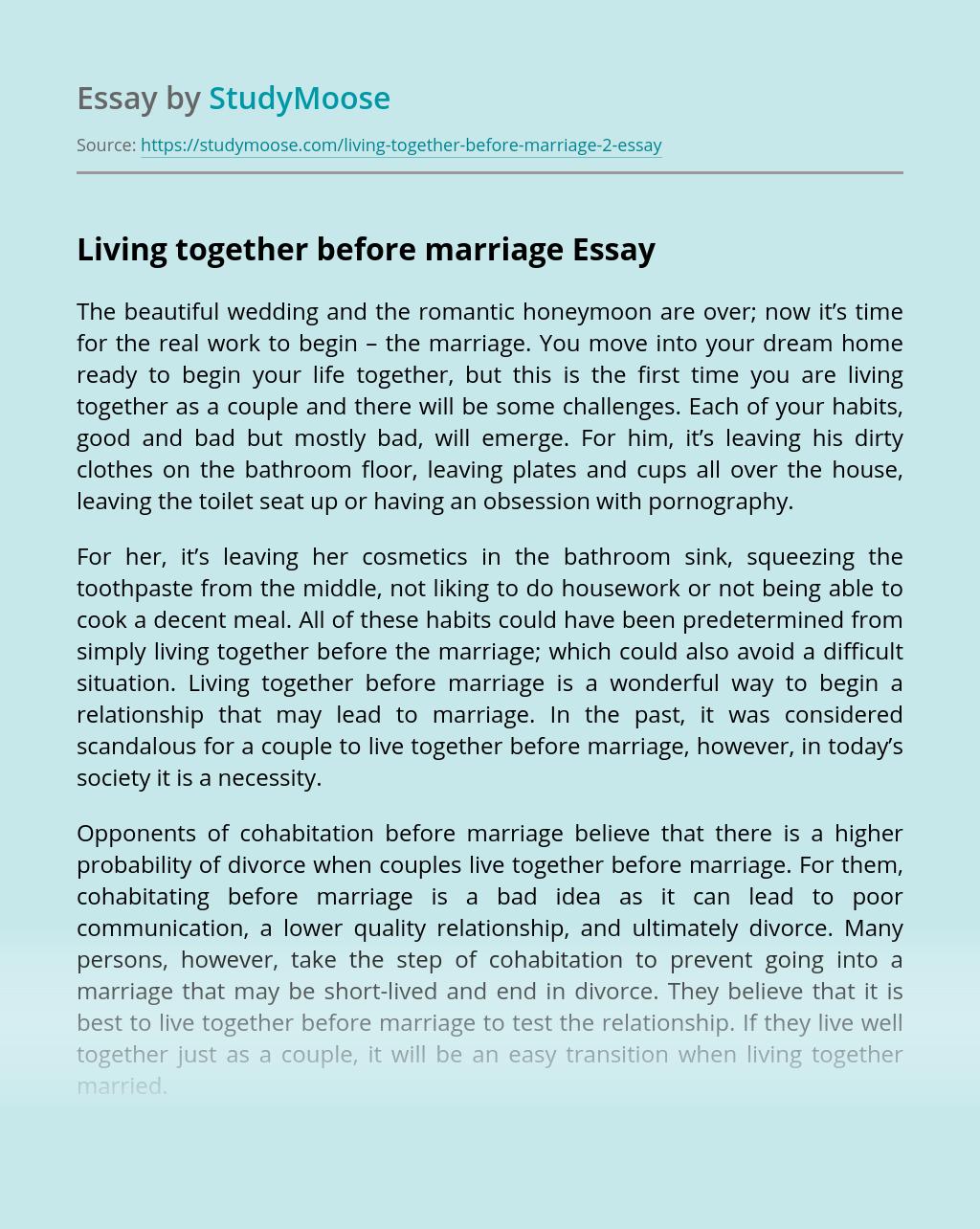 Cohabitating before marriage
