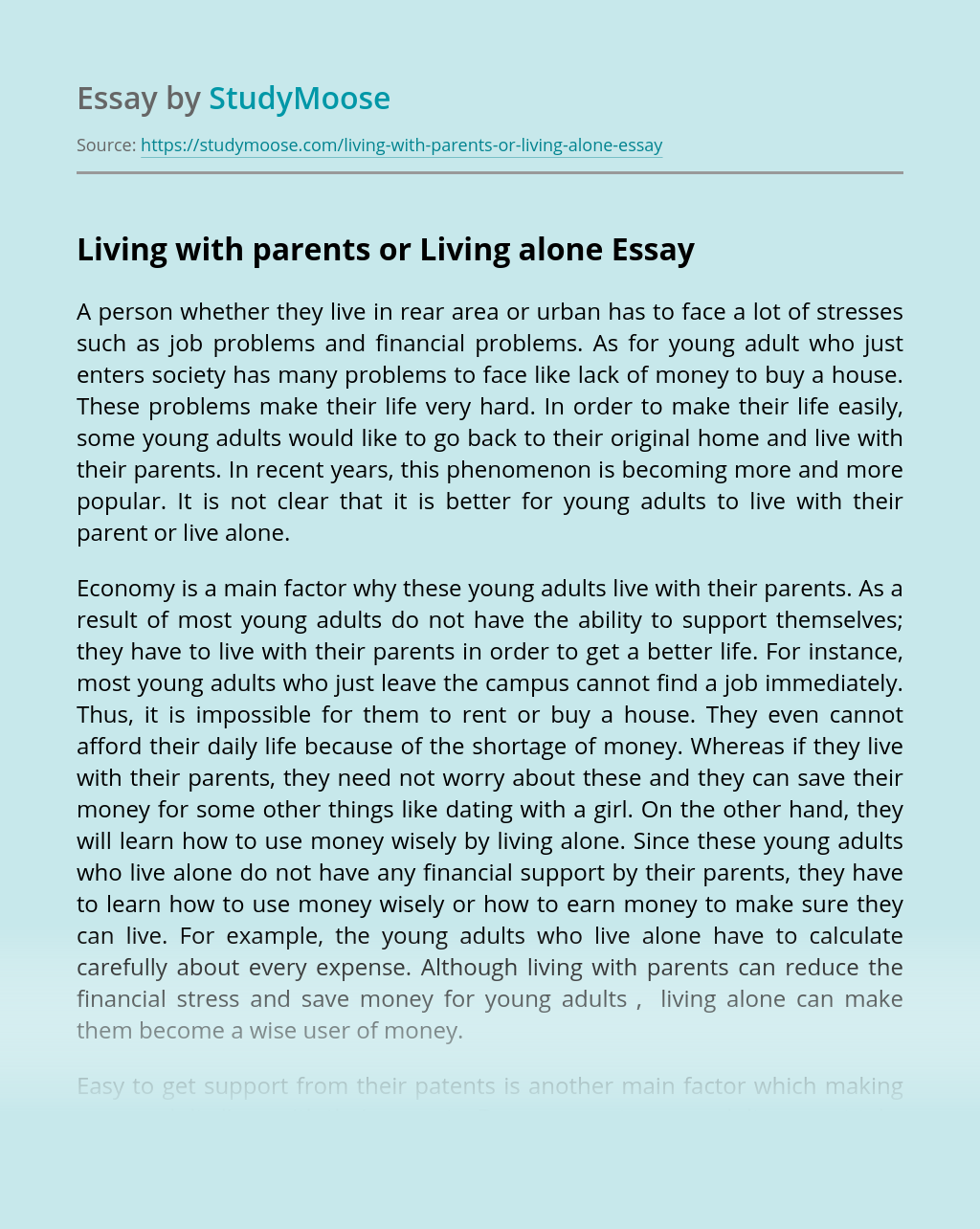 Living with parents or Living alone