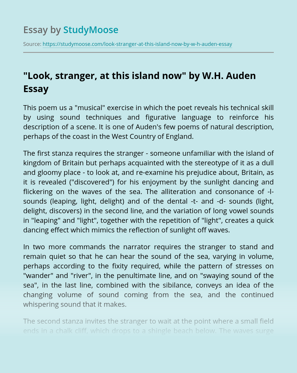 """""""Look, Stranger, at this Island Now"""" by W.H. Auden"""