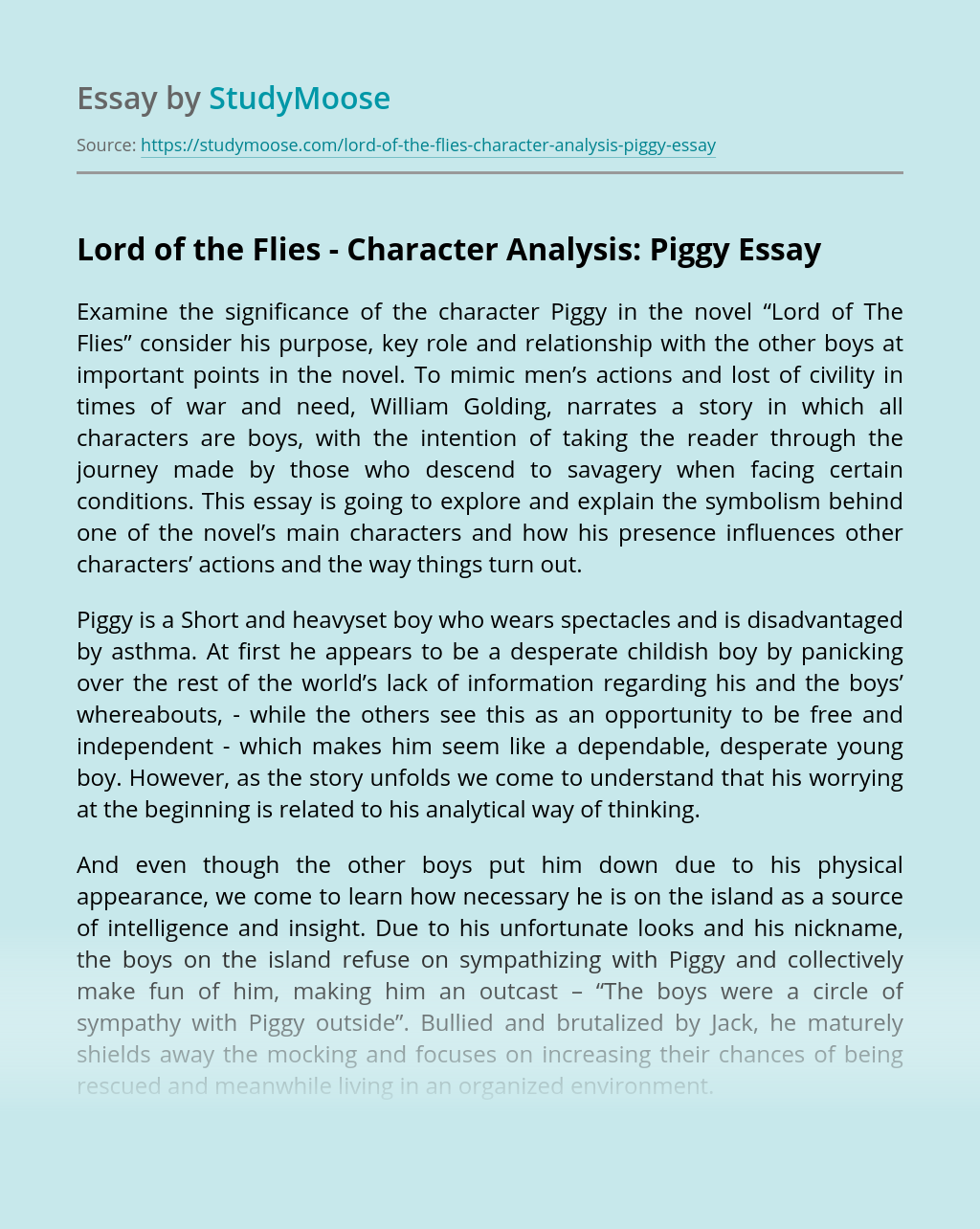 Lord of the Flies - Character Analysis: Piggy