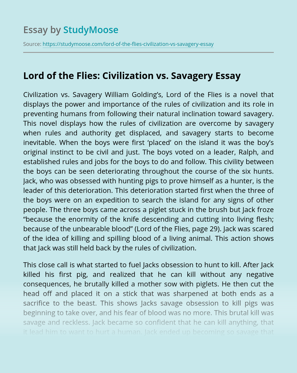 Lord of the Flies: Civilization vs. Savagery