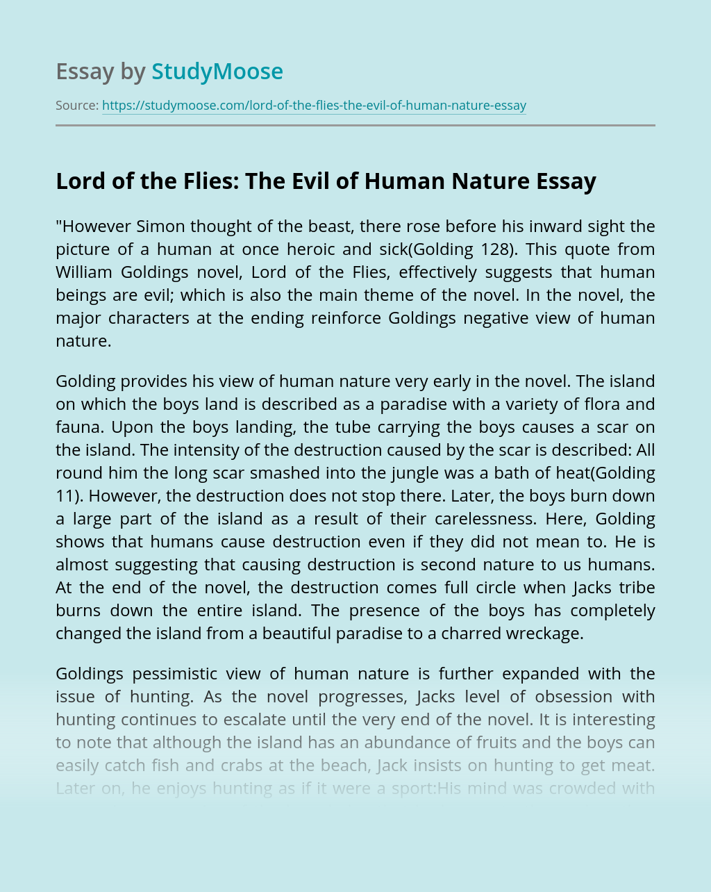 Thesis about lord of the flies