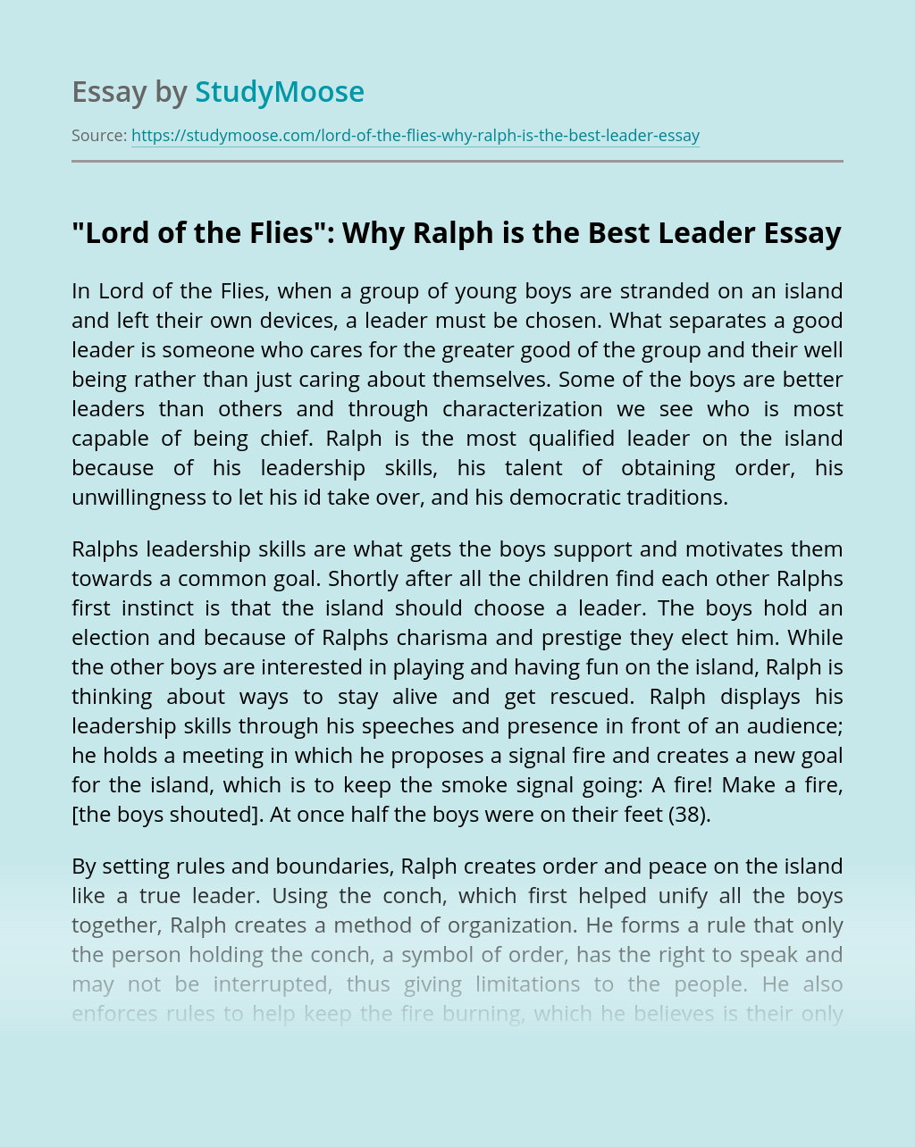 """""""Lord of the Flies"""": Why Ralph is the Best Leader"""