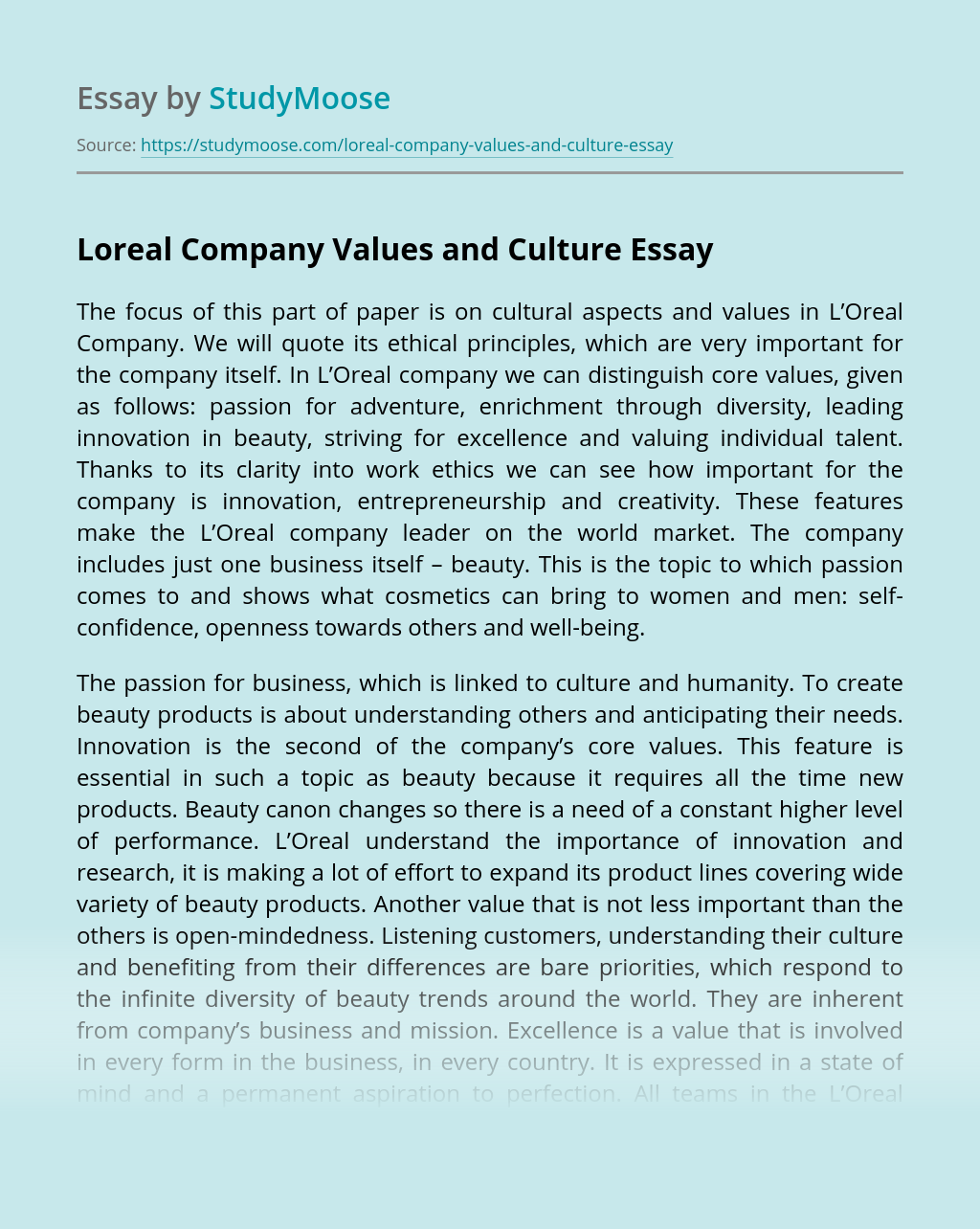 Loreal Company Values and Culture