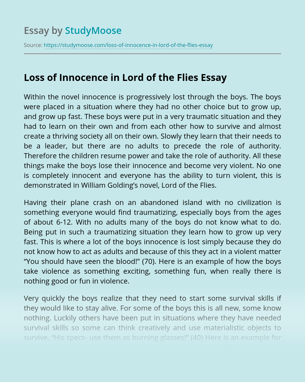 Loss of Innocence in Lord of the Flies