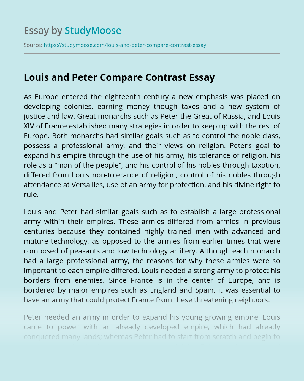 Louis and Peter Compare Contrast