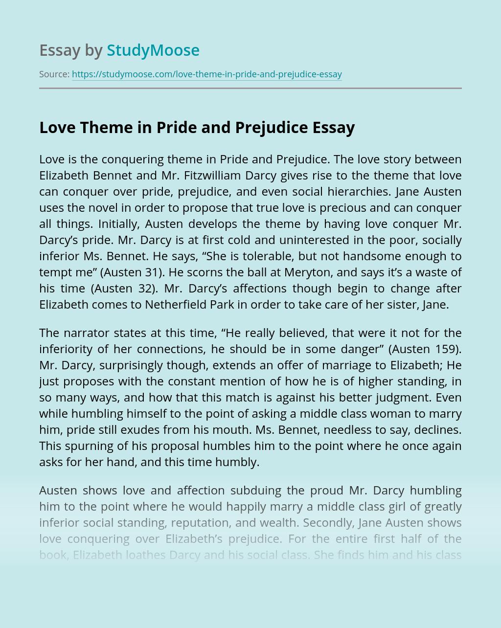 Love Theme in Pride and Prejudice