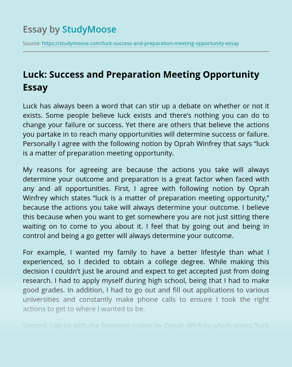 Luck: Success and Preparation Meeting Opportunity