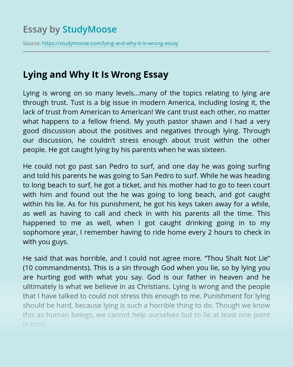 Lying and Why It Is Wrong