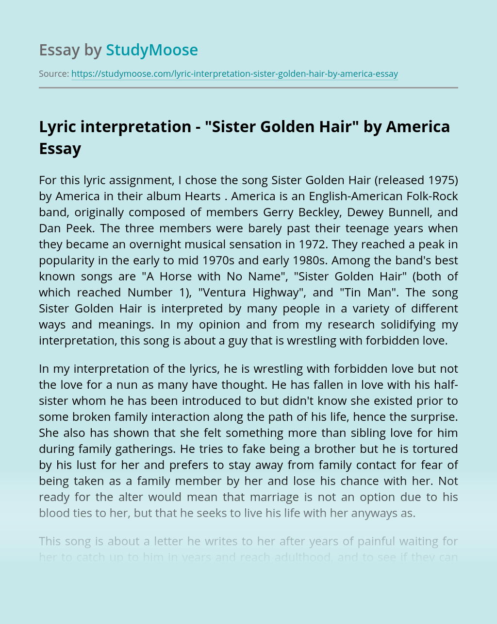 "Lyric interpretation - ""Sister Golden Hair"" by America"