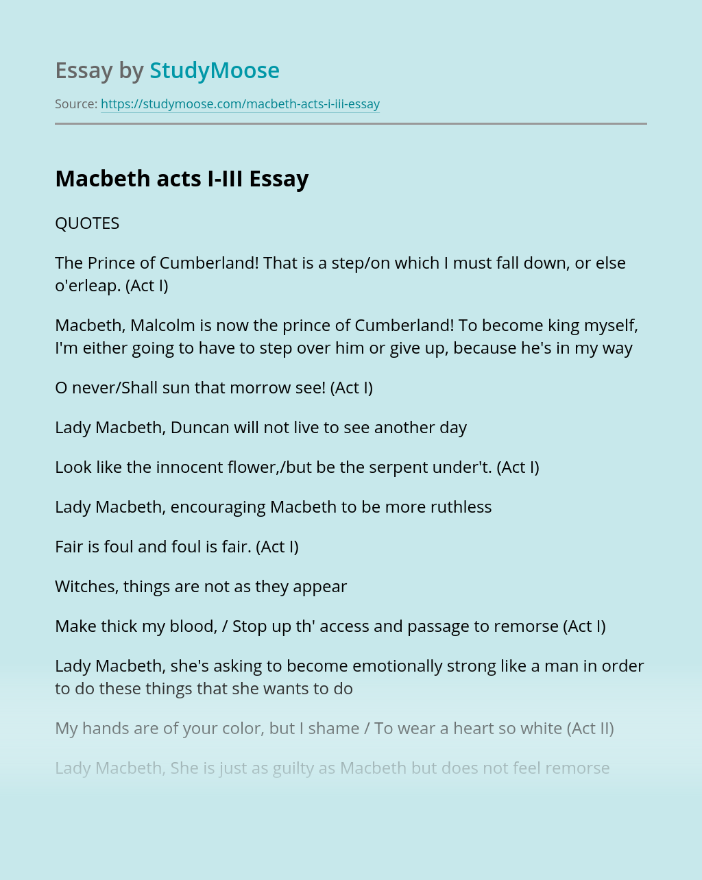Essay Sample on Courage of Macbeth | blogger.com
