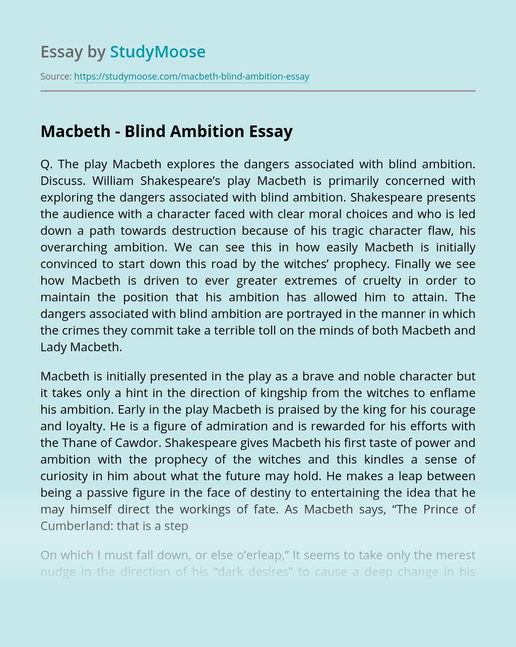 Macbeth – Blind Ambition