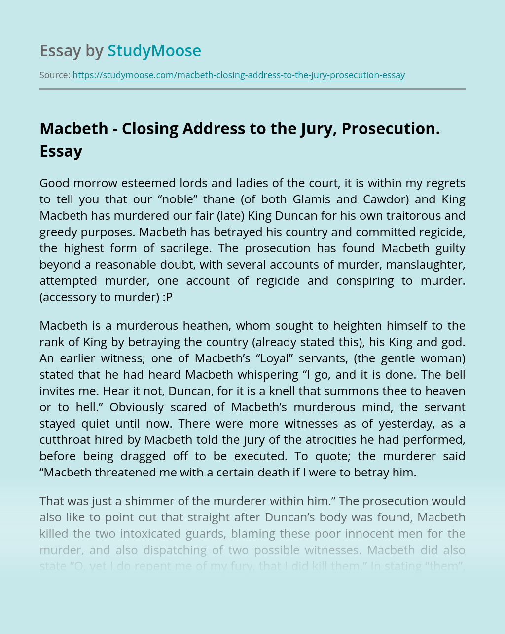 Macbeth – Closing Address to the Jury, Prosecution.