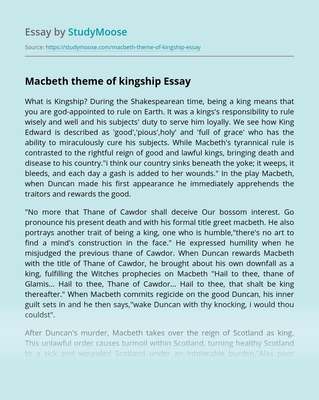 Macbeth theme of kingship