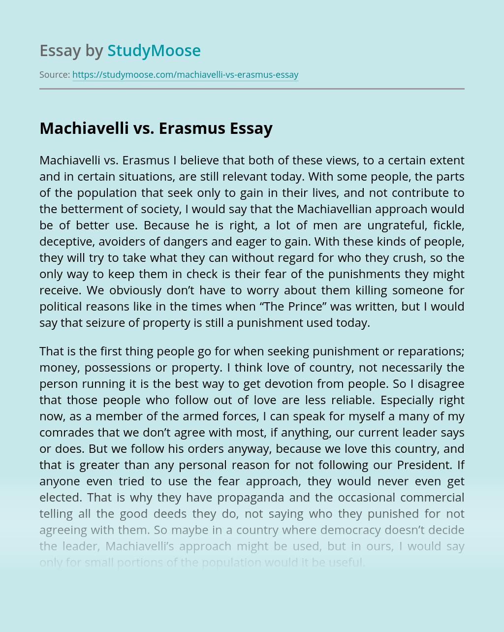 Machiavelli vs. Erasmus