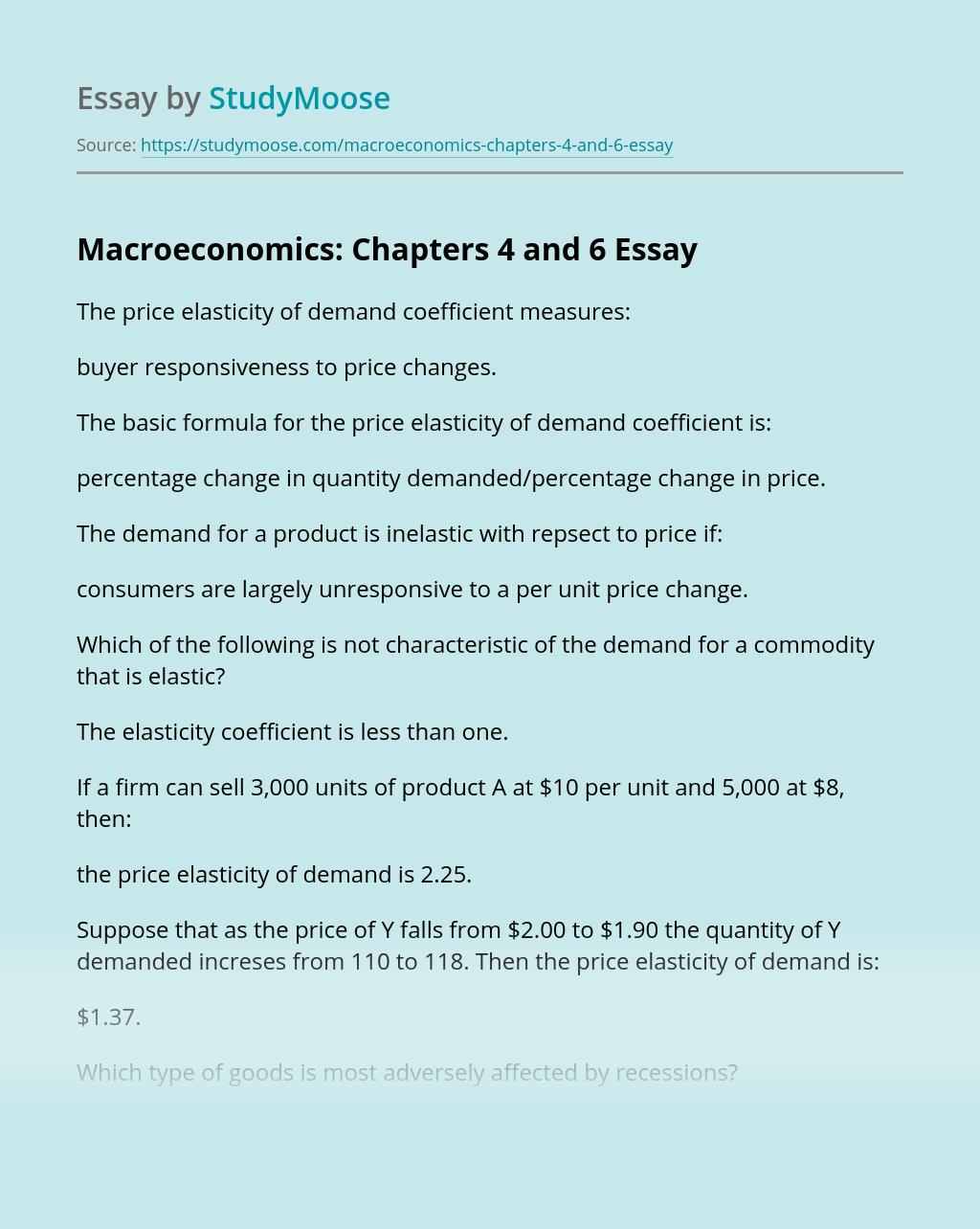 Macroeconomics: Chapters 4 and 6