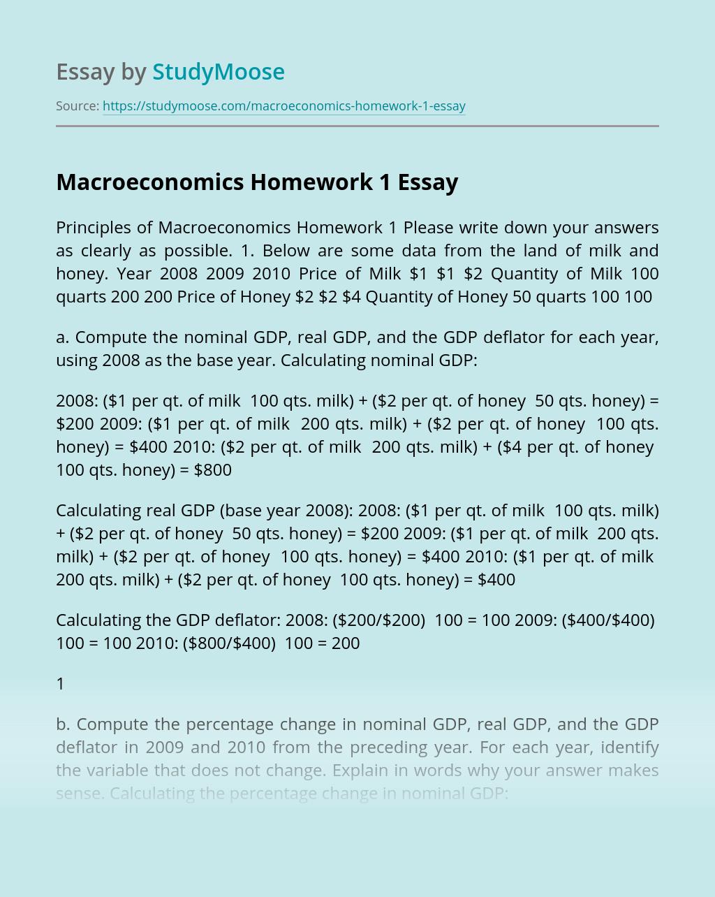 Macroeconomics Homework 1