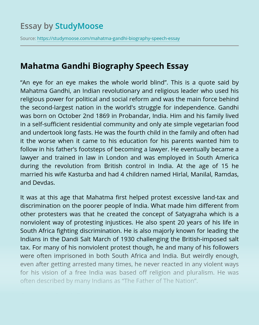 Mahatma Gandhi Biography Speech