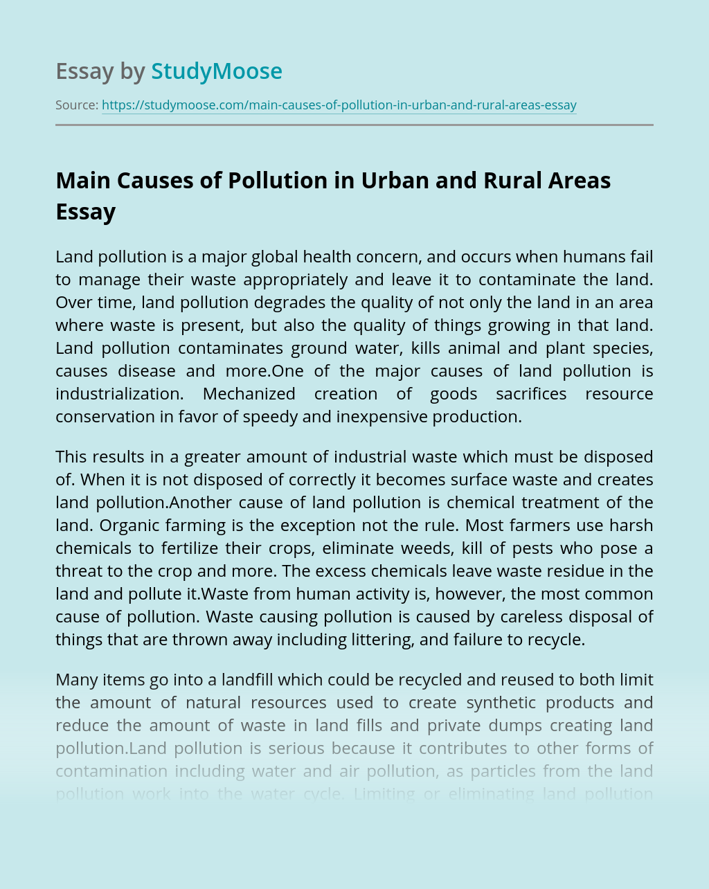 Main Causes of Pollution in Urban and Rural Areas