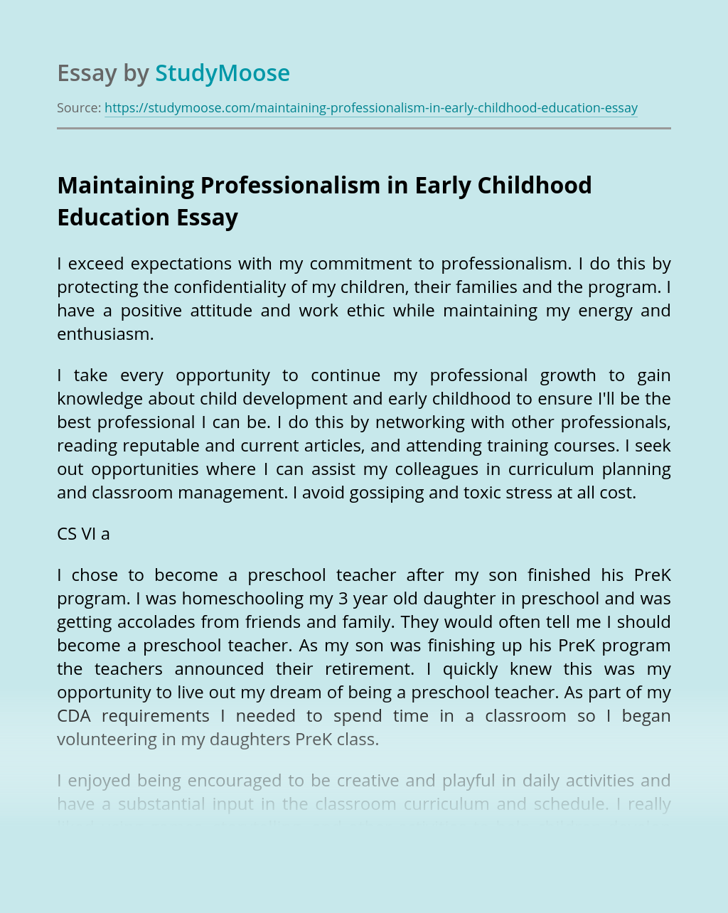 Maintaining Professionalism in Early Childhood Education