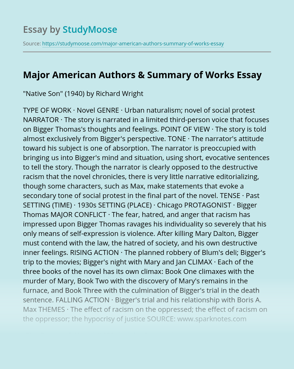 Major American Authors & Summary of Works