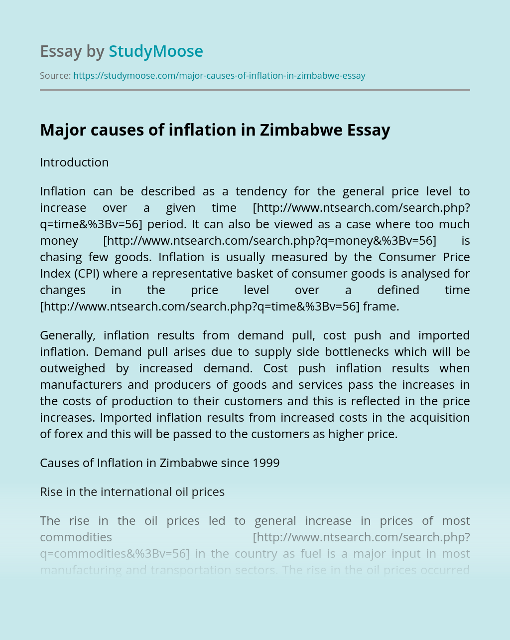 Major causes of inflation in Zimbabwe
