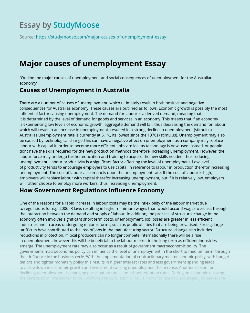 Major causes of unemployment