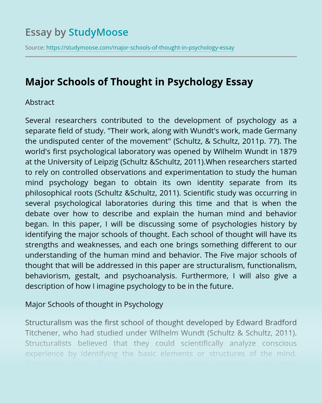 Major Schools of Thought in Psychology