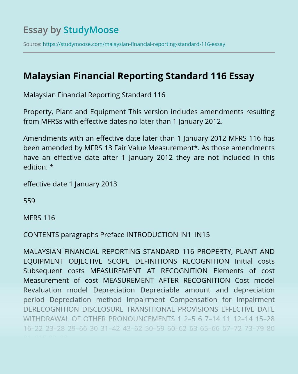 Malaysian Financial Reporting Standard 116