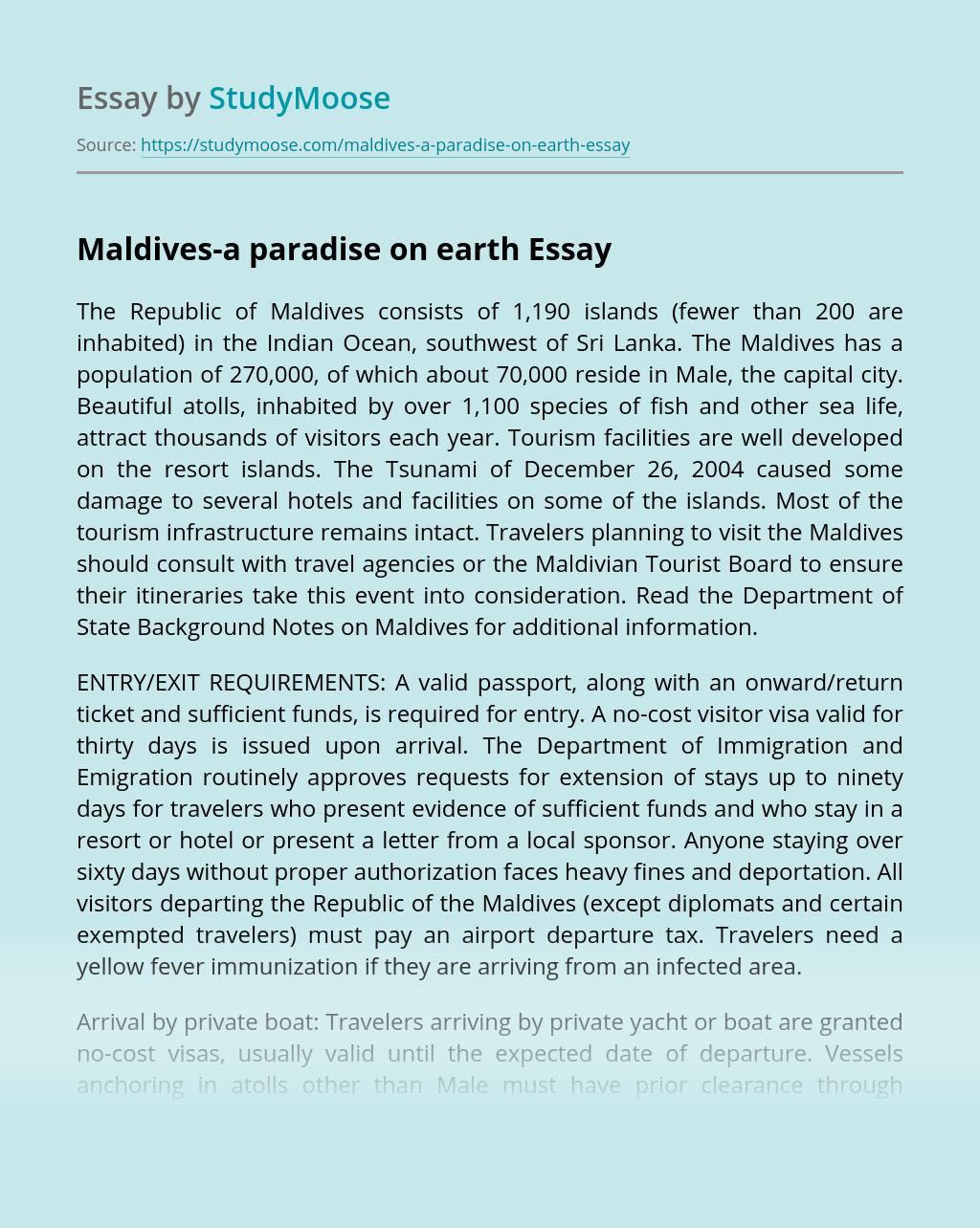 Maldives-a paradise on earth