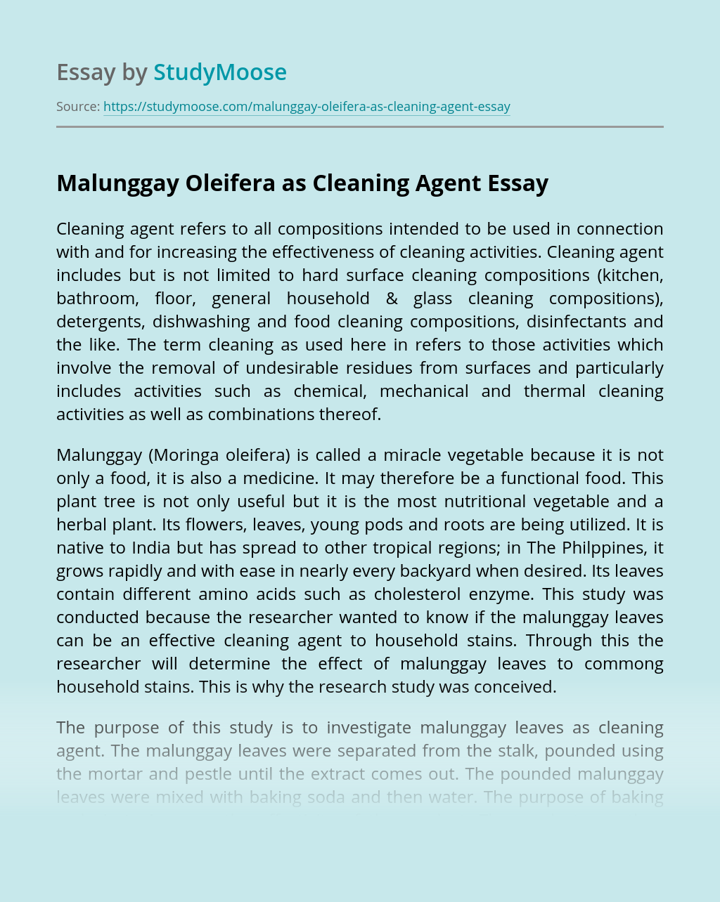 Malunggay Oleifera as Cleaning Agent