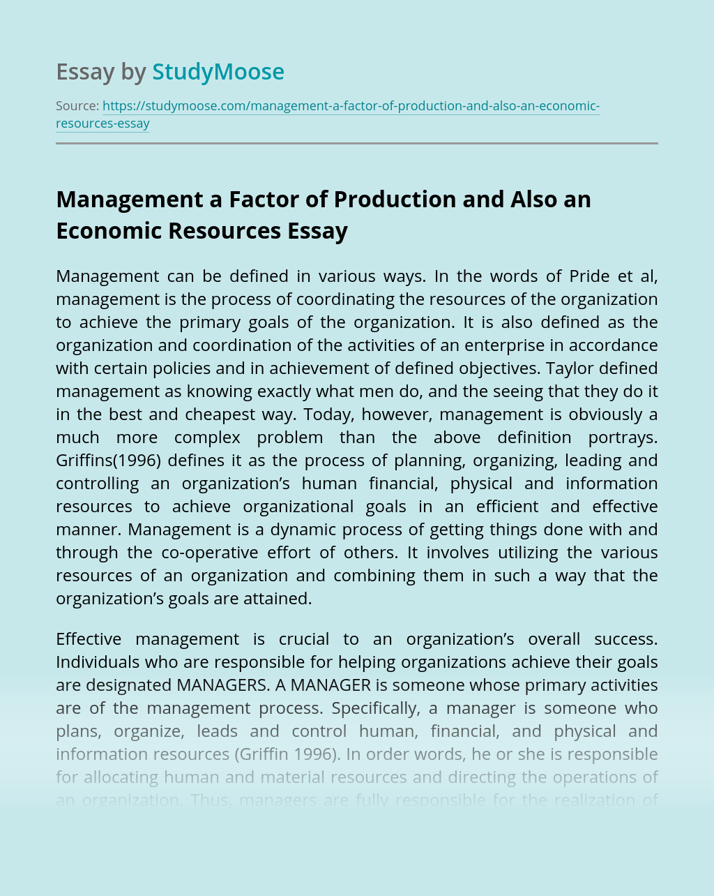 Management a Factor of Production and Also an Economic Resources