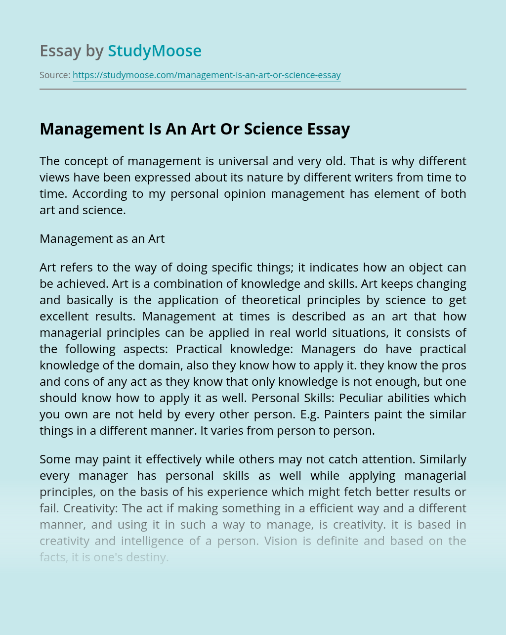 Management Is An Art Or Science
