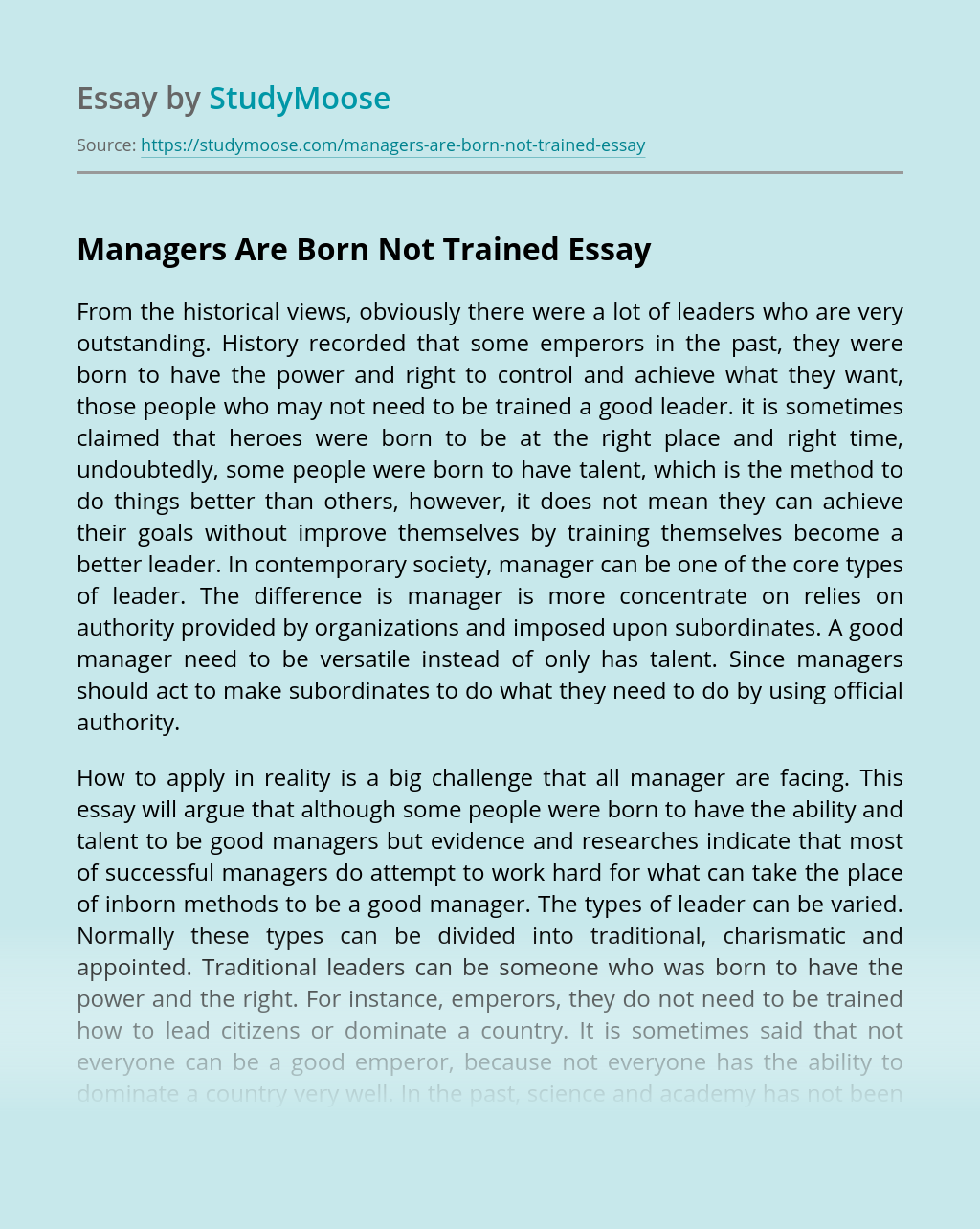 Managers Are Born Not Trained
