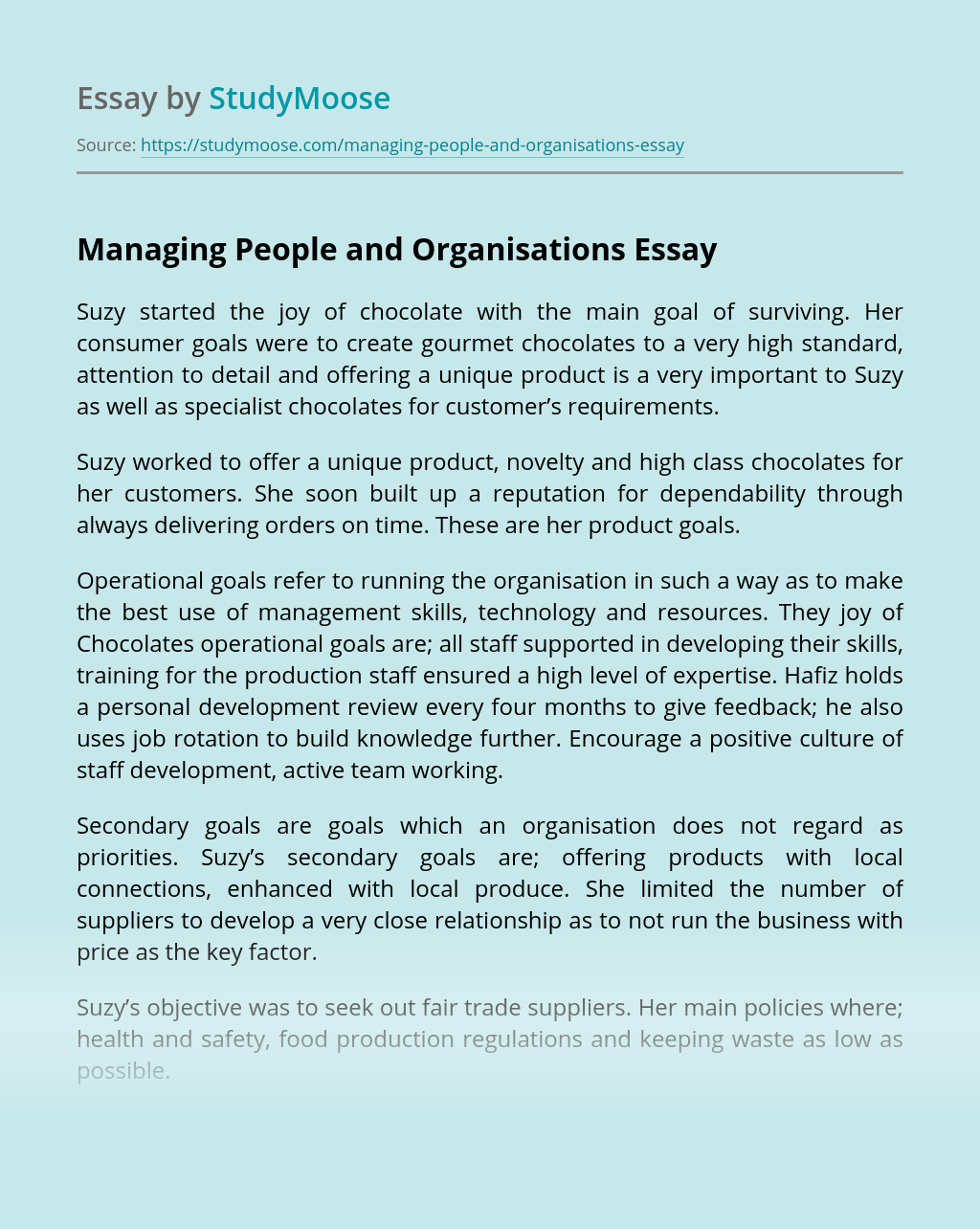 Managing People and Organisations