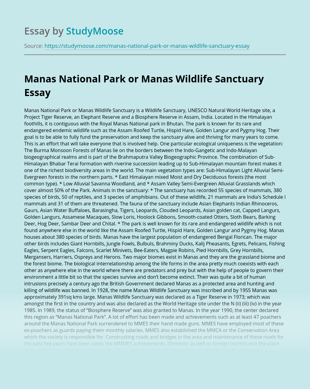 Manas National Park or Manas Wildlife Sanctuary
