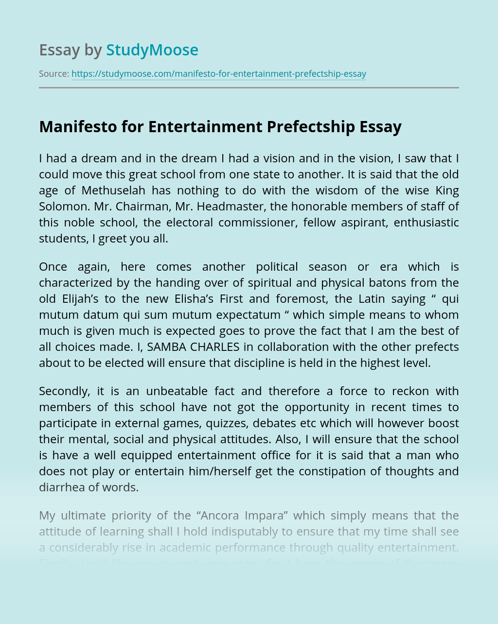 Manifesto for Entertainment Prefectship