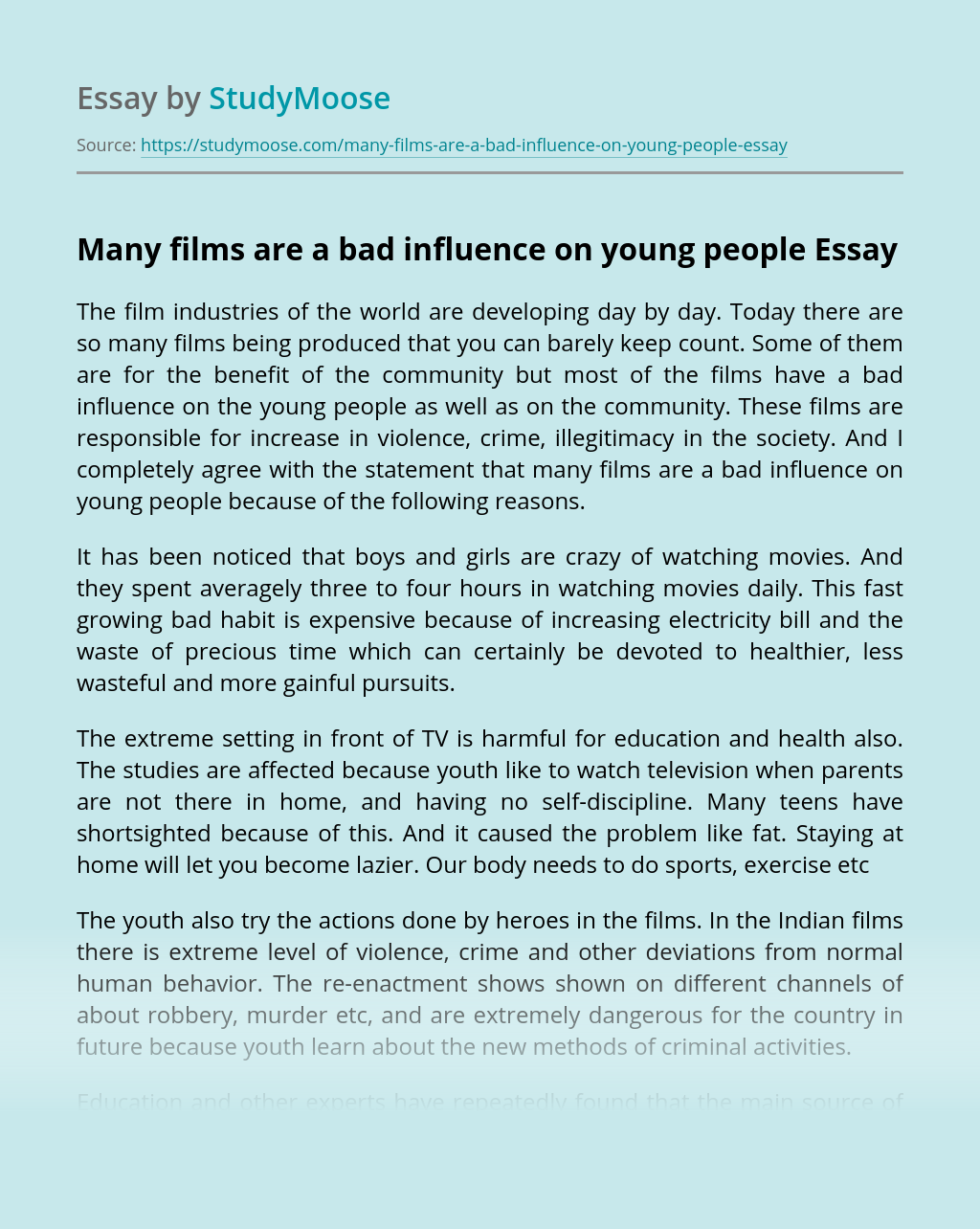 Many films are a bad influence on young people