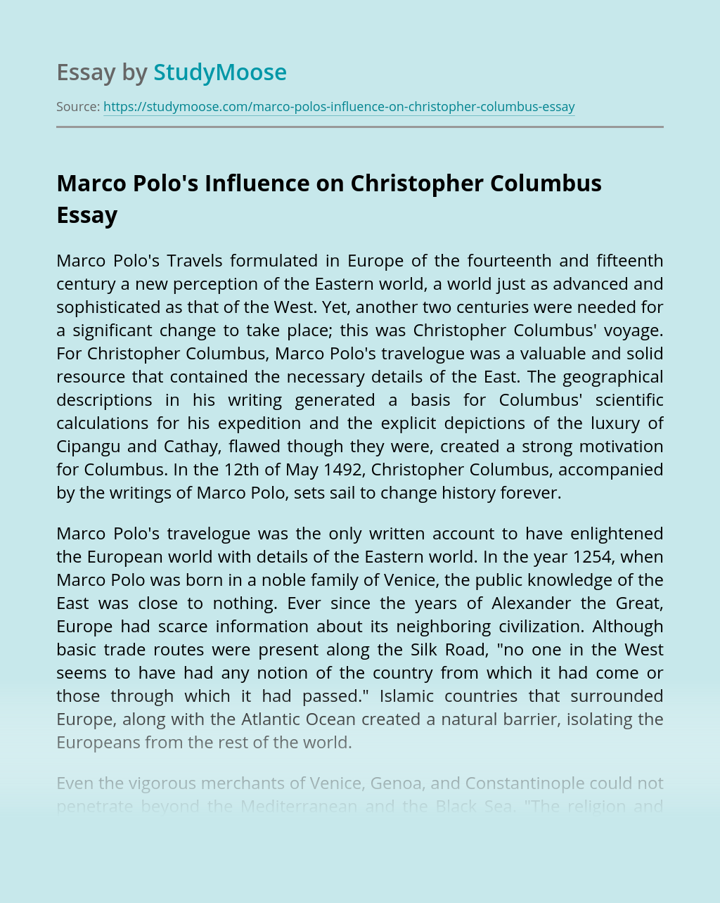Marco Polo's Influence on Christopher Columbus