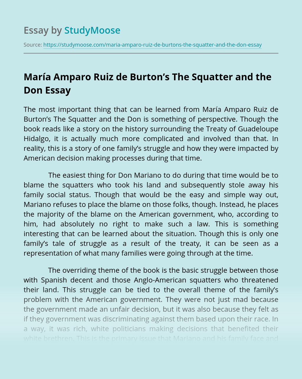 María Amparo Ruiz de Burton's The Squatter and the Don
